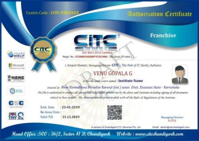 CITC Franchise Certificate
