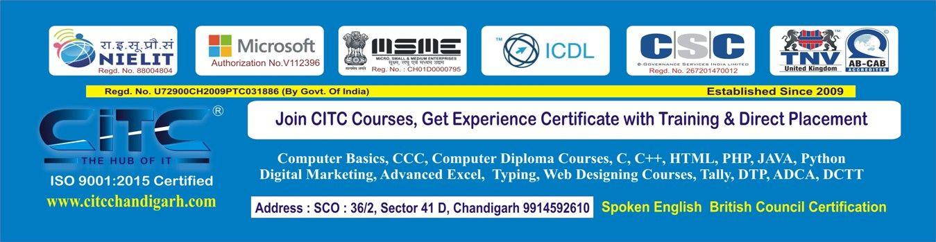 CITC-ISO Certified, Govt, NIELIT, Microsoft Authorized Institute